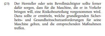 MaschinenRichtlinie Risikobeurteilung