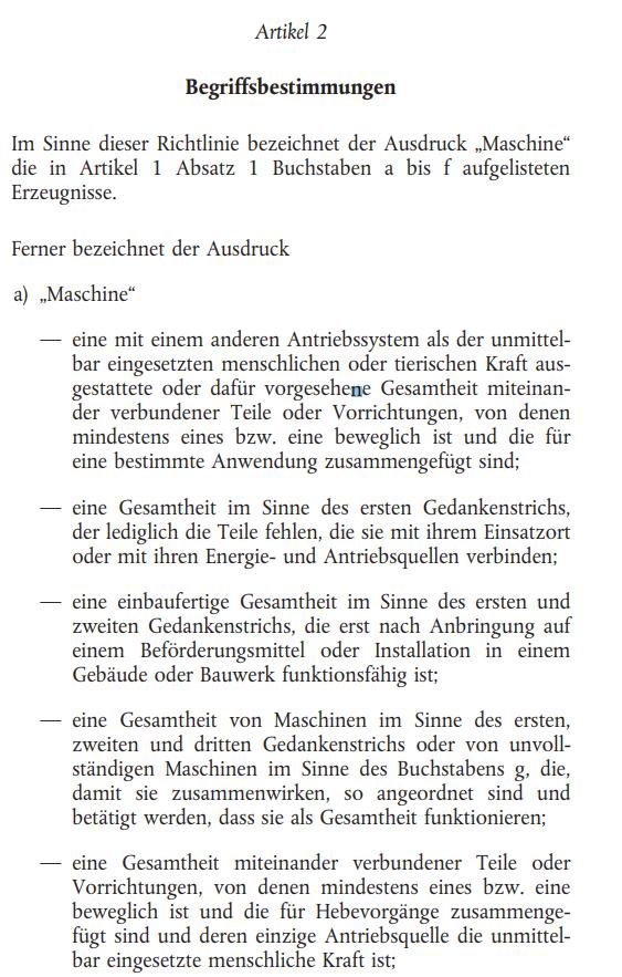 Ausschnitt aus der Maschinenrichtlinie